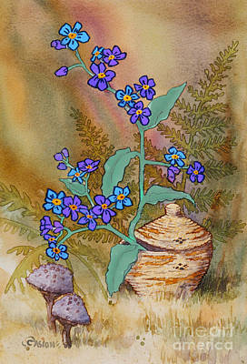 Basket Of Forgetmenots Poster