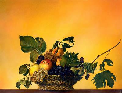Basket Of Fruit Poster by Anna Ewa Miarczynska