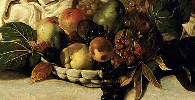 Basket Of Fruit Detail Bacchus Poster by Caravaggio