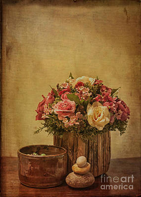 Basket Of Spring Roses Poster by Terry Rowe