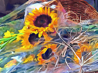 Basket Of Sunflowers Poster by Susan Savad