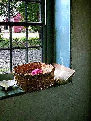 Basket With Yarn Poster
