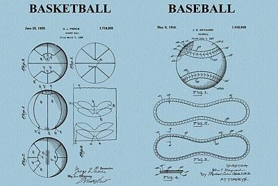 Basketball Baseball Patent Blue Poster by Dan Sproul