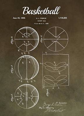 Basketball Patent Antique Brown Poster