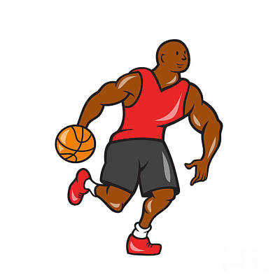 Basketball Player Dribbling Ball Cartoon Poster