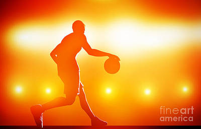 Basketball Player Dribbling With Ball Poster