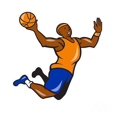 Basketball Player Dunking Ball Cartoon Poster by Aloysius Patrimonio