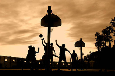 Basketball Players At Sunset Poster