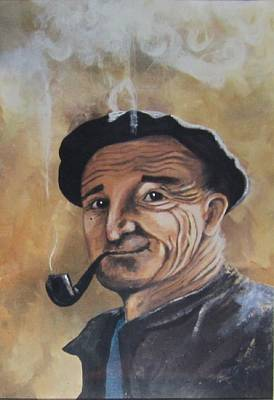 Poster featuring the painting Basque Man With Pipe by Cathy Long