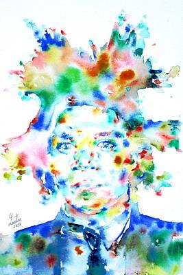 Basquiat Jean Michel Watercolor Portrait Poster by Fabrizio Cassetta