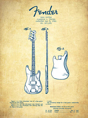 Bass Guitar Patent Drawing From 1960 - Vintage Paper Poster