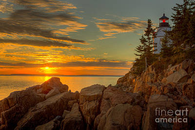 Bass Harbor Head Light At Sunset I Poster by Clarence Holmes