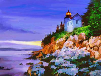 Bass Harbor Head Light At Sunset Poster