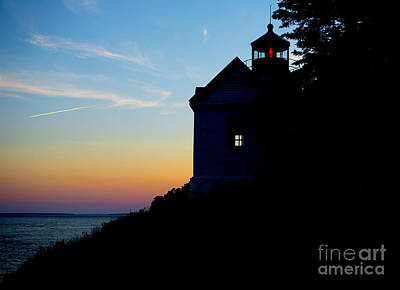 Bass Harbor Lighthouse At Sunset Poster by Diane Diederich