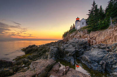 Bass Harbor Lighthouse Reflected In Tidal Pool Poster