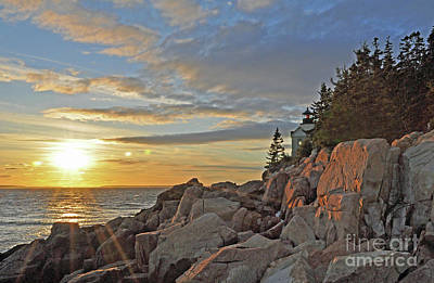 Poster featuring the photograph Bass Harbor Lighthouse Sunset Landscape by Glenn Gordon