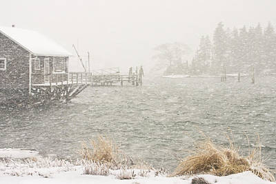 Bass Harbor - Snowstorm - Mount Desert Island - Maine Poster by Keith Webber Jr
