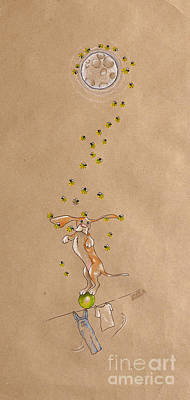 Basset Hound And Fireflies Poster
