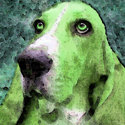 Basset Hound - Pop Art Green Poster by Sharon Cummings