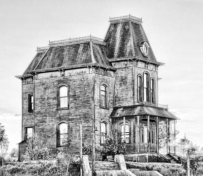 Bates Motel Haunted House Black And White Poster by Paul W Sharpe Aka Wizard of Wonders