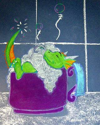 Poster featuring the pastel Bath Time by Wendy Coulson