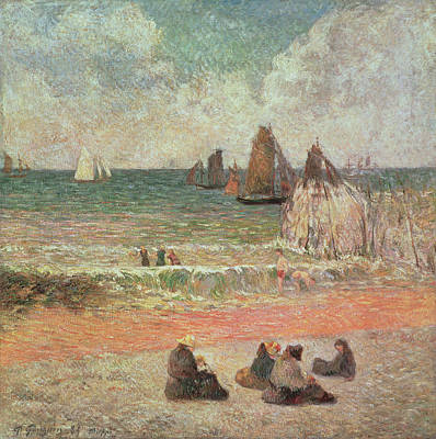 Bathing Dieppe Poster by Paul Gauguin