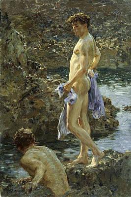 Bathing Group Of 1914 Poster by Henry Scott Tuke