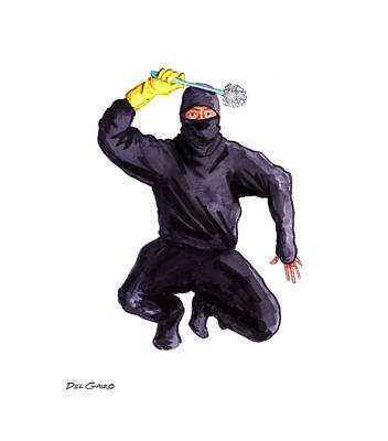 Bathroom Ninja Poster by Del Gaizo