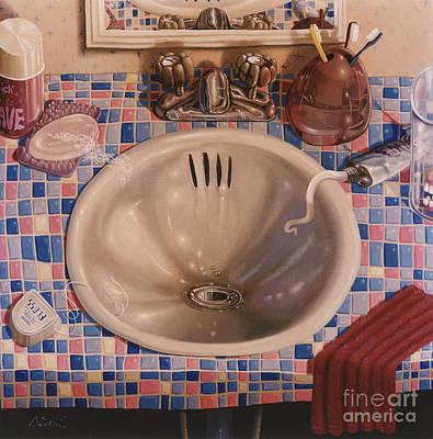 Bathroom Sink 1991  Skewed Perspective Series 1991 - 2000 Poster by Larry Preston