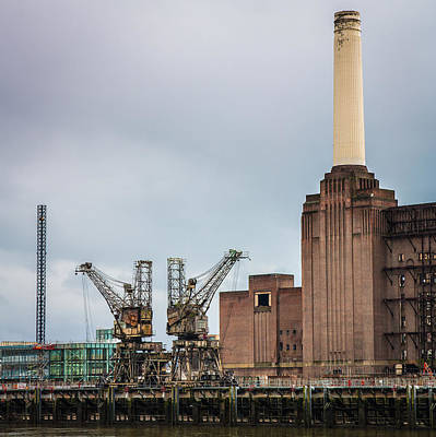 Battersea Power Station Cranes And Chimney Poster by Semmick Photo