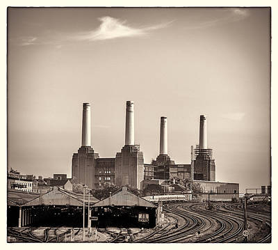 Battersea Power Station With Train Tracks With Border Poster by Lenny Carter