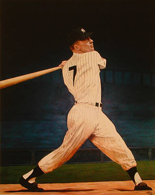 Batting Practice - Mickey Mantle Poster by Rick Fitzsimons
