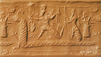 Battle Between Marduk And Tiamat Poster by Photo Researchers