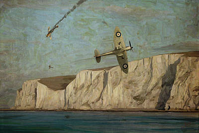 Poster featuring the painting Battle Of Britain Over Dover by Nop Briex