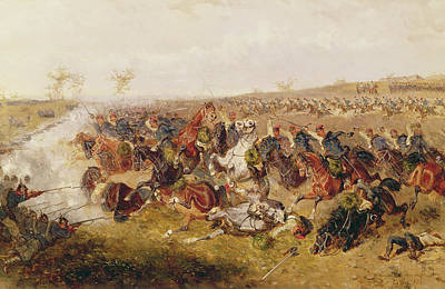 Battle Of Schweinschaedel, 29th July 1866 Oil On Canvas Poster by Alexander Ritter von Bensa