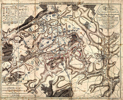 Battle Of Waterloo Old Map Poster