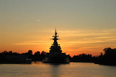 Poster featuring the photograph Battleship At Sunset by Cynthia Guinn