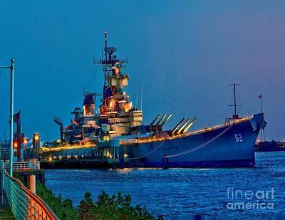 Battleship New Jersey At Night Poster