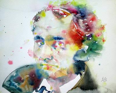 Baudelaire - Watercolor Portrait Poster