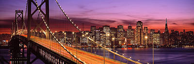 Bay Bridge Illuminated At Night, San Poster