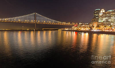 Poster featuring the photograph Bay Bridge Lights And City by Kate Brown
