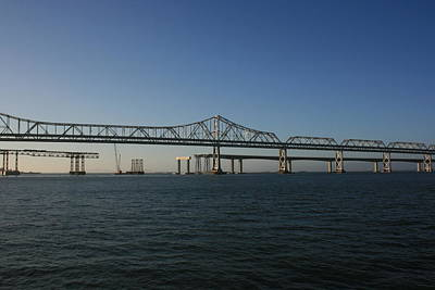 Poster featuring the photograph Bay Bridge Under Blue Skies by Cynthia Marcopulos