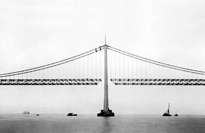 Bay Bridge Under Construction Poster by Underwood Archives