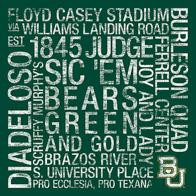 Baylor College Colors Subway Art Poster