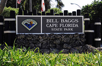 Bill Baggs State Park Florida Entrance Sign Poster by David Lee Thompson
