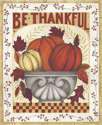 Be Thankful Poster by Cindy Shamp