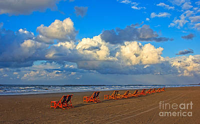 Beach And Chairs With Cloudy Sky Poster