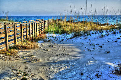 Beach And The Walkway Colored Poster by Michael Thomas