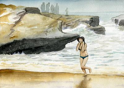 Beach At Sunset Cliffs Poster
