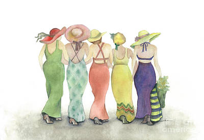 Beach Babes In Coverups And Hats Ready For A Day In The Sun Poster by Nan Wright